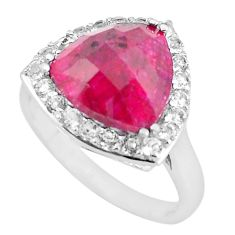 925 sterling silver 7.22cts natural red ruby topaz ring jewelry size 9 c3744