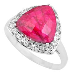 925 sterling silver 7.24cts natural red ruby topaz ring jewelry size 9 c3747