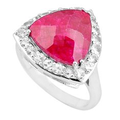 925 sterling silver 6.31cts natural red ruby topaz ring jewelry size 6.5 c3755