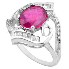 925 sterling silver 5.07cts natural red ruby topaz ring jewelry size 8.5 c4047