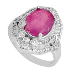 925 sterling silver 6.57cts natural red ruby topaz solitaire ring size 8 a96408
