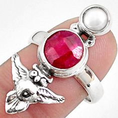 925 sterling silver 4.52cts natural red ruby white pearl owl ring size 7 p42804