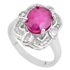 925 sterling silver 5.58cts natural red ruby white topaz ring size 6.5 c2058
