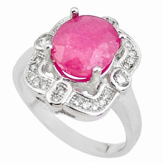 925 sterling silver 5.38cts natural red ruby white topaz ring size 6.5 c2067