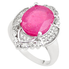 925 sterling silver 6.63cts natural red ruby white topaz ring size 7 c2119