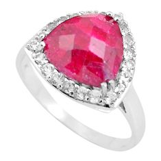 925 sterling silver 6.83cts natural red ruby white topaz ring size 11.5 c3752