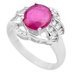 925 sterling silver 6.53cts natural red ruby white topaz ring size 9 c4026