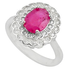 925 sterling silver 5.38cts natural red ruby white topaz ring size 7 c4043