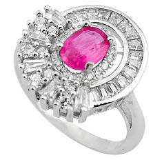 925 sterling silver 4.69cts natural red ruby white topaz ring size 6 c4053