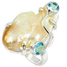 925 sterling silver natural white mother of pearl topaz ring size 6 h68459