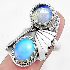 925 sterling silver 9.91cts natural white opalite ring jewelry size 8 p42416