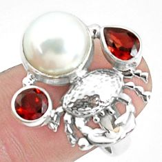 925 sterling silver 7.36cts natural white pearl garnet crab ring size 8 p42830