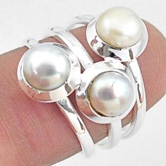925 sterling silver 3.39cts natural white pearl ring jewelry size 6 p85810