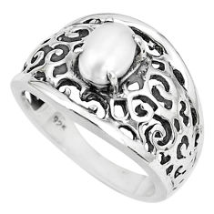 925 sterling silver 1.58cts natural white pearl solitaire ring size 7 p36231