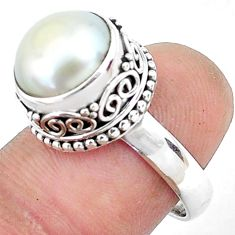 925 sterling silver 6.73cts natural white pearl solitaire ring size 7.5 p47453