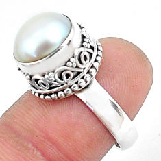 925 sterling silver 6.38cts natural white pearl solitaire ring size 7 p47460