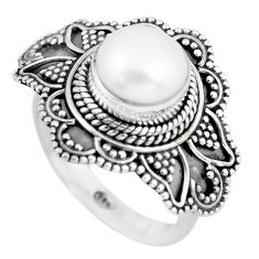 925 sterling silver 5.45cts natural white pearl solitaire ring size 6.5 p57704