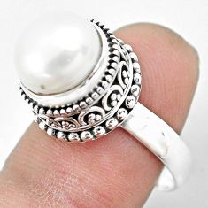 925 sterling silver 5.98cts natural white pearl solitaire ring size 7.5 p61687
