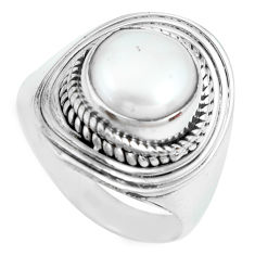 925 sterling silver 4.67cts natural white pearl solitaire ring size 7.5 p70344