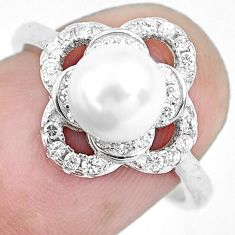 925 sterling silver 3.87cts natural white pearl topaz ring jewelry size 7 c1285
