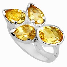 925 sterling silver 7.07cts natural yellow citrine oval ring size 7.5 p81647