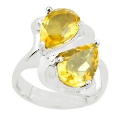 925 sterling silver 5.56cts natural yellow citrine ring jewelry size 6 p62098