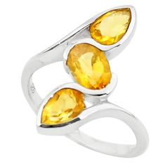 925 sterling silver 3.52cts natural yellow citrine ring jewelry size 6.5 p73250