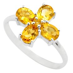 925 sterling silver 4.27cts natural yellow citrine ring jewelry size 7.5 p83531