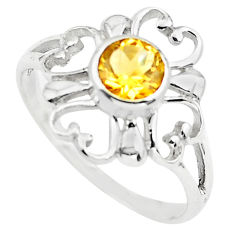 925 sterling silver 1.34cts natural yellow citrine round ring size 6 p73435