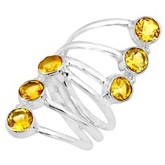 925 sterling silver 5.18cts natural yellow citrine round ring size 7.5 p77769