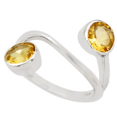925 sterling silver 2.93cts natural yellow citrine round ring size 5.5 p83229