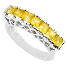 925 sterling silver 2.81cts natural yellow citrine square ring size 5.5 p73151