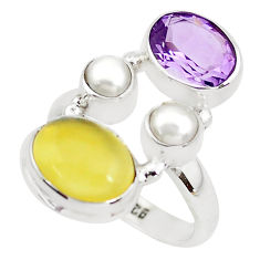 925 sterling silver 7.66cts natural yellow opal amethyst ring size 6.5 p52636