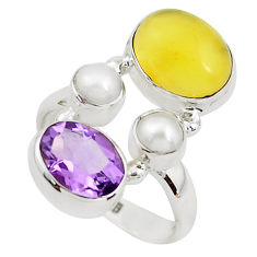 925 sterling silver 7.66cts natural yellow opal amethyst ring size 6.5 p52639