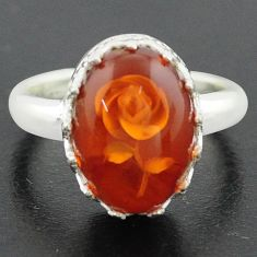925 sterling silver 5.79cts orange amber flower ring jewelry size 7 p75464
