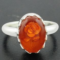 925 sterling silver 5.36cts orange amber flower ring jewelry size 7 p75468