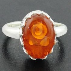 925 sterling silver 5.79cts orange amber flower ring jewelry size 8 p75477