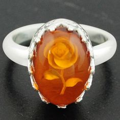 925 sterling silver 5.38cts orange amber flower ring jewelry size 7 p75488