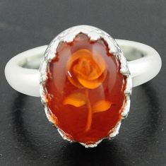 925 sterling silver 5.79cts orange amber flower ring jewelry size 9 p75493