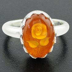 925 sterling silver 6.02cts orange amber oval flower ring jewelry size 9 p75480