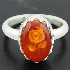 925 sterling silver 5.53cts orange amber oval flower ring jewelry size 8 p75483
