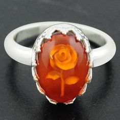 925 sterling silver 5.35cts orange amber oval flower ring jewelry size 8 p75485