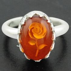 925 sterling silver 5.75cts orange amber oval flower ring jewelry size 8 p75499