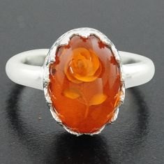 925 sterling silver 5.79cts orange amber oval flower ring jewelry size 8 p75518