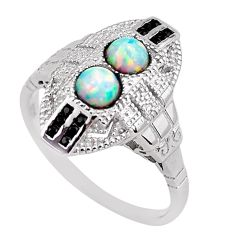 925 sterling silver 1.94cts pink australian opal (lab) topaz ring size 9 c2347