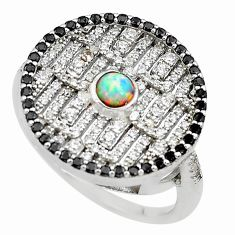 925 sterling silver 2.85cts pink australian opal (lab) topaz ring size 9 c2477