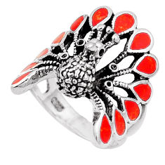 925 sterling silver 5.89gms red coral enamel peacock ring jewelry size 7 c2998