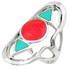 925 sterling silver 6.26gms red coral turquoise enamel ring jewelry size 7 c1565