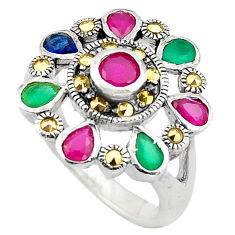 925 sterling silver 4.13cts red ruby (lab) emerald (lab) ring size 8 c4099