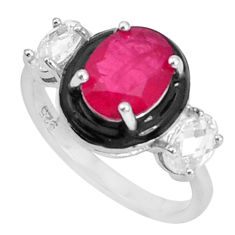 925 sterling silver 5.38cts red ruby (lab) oval topaz enamel ring size 7 c2679
